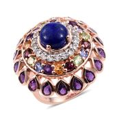 Lapis Lazuli, Multi Gemstone 14K RG Over Sterling Silver Ring (Size 7.0) TGW 8.58 cts.