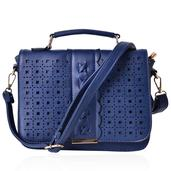 J Francis - Peacock Blue Faux Leather Openwork Fold Over Crossbody Bag (10x4x8 in)