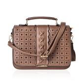 Brown Faux Leather Openwork Fold Over Crossbody Bag (10x4x8 in)