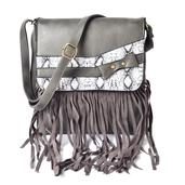 J Francis - Gray Faux Leather Crossbody Bag with Fringe(10x11 in)