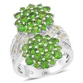 Russian Diopside, Hebei Peridot, White Topaz Sterling Silver Flower Ring (Size 8.0) TGW 4.210 cts.