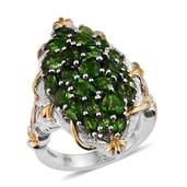 Russian Diopside 14K YG and Platinum Over Sterling Silver Ring (Size 8.0) TGW 5.81 cts.