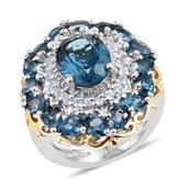 London Blue Topaz, White Topaz 14K YG and Platinum Over Sterling Silver Ring (Size 6.0) TGW 6.800 cts.