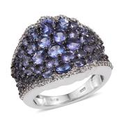 Tanzanite, White Topaz Platinum Over Sterling Silver Cluster Ring (Size 8.0) TGW 5.520 cts.