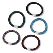 Set of 5 Multi Color Glass, Austrian Crystal Mesh Bracelets with Magnetic Clasp (7.50 In)