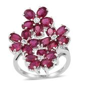 Niassa Ruby, White Topaz Platinum Over Sterling Silver Flower Split Ring (Size 6.0) TGW 9.40 cts.