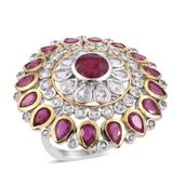 Niassa Ruby, White Topaz 14K YG and Platinum Over Sterling Silver Statement Ring (Size 7.0) TGW 9.94 cts.