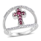 Morro Redondo Pink Tourmaline, White Topaz Platinum Over Sterling Silver Cross Ring (Size 6.0) TGW 0.85 cts.