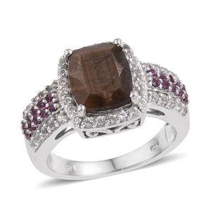 Chocolate Sapphire, Orissa Rhodolite Garnet, White Topaz Platinum Over Sterling Silver Ring (Size 7.0) TGW 7.28 cts.