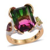 GP Rainbow Genesis Quartz, Multi Gemstone 14K YG Over Sterling Silver Ring (Size 6.0) TGW 14.730 cts.