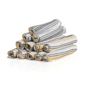 Gray and Mustard Stripe Pattern 100% Cotton Dish Cloth Set of 24 (12x12 in)