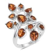 Santa Ana Madeira Citrine Platinum Over Sterling Silver Elongated Bypass Ring (Size 5.0) TGW 3.32 cts.