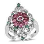 Morro Redondo Pink Tourmaline, Kagem Zambian Emerald Platinum Over Sterling Silver Ring (Size 8.0) TGW 1.59 cts.