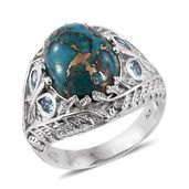 Mojave Blue Turquoise, Electric Blue Topaz Platinum Over Sterling Silver Engraved Ring (Size 6.0) TGW 8.90 cts.