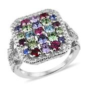 KARIS Collection - Platinum Bond Brass Split Cluster Ring (Size 7.0) Made with Multi SWAROVSKI Crystal TGW 2.040 cts.