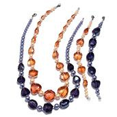 Simulated Peach and Lavender Pearl, Champagne and Purple Glass Stainless Steel Set of 2 Bracelets (7.5 in) and Necklaces (20.00 In)