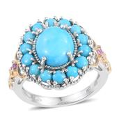 Arizona Sleeping Beauty Turquoise, Pink Sapphire 14K YG and Platinum Over Sterling Silver Ring (Size 7.0) TGW 5.160 cts.