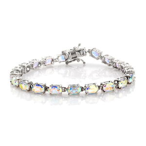 Mercury Mystic Topaz Platinum Over Sterling Silver Bracelet (7.50 In) TGW 19.960 cts.