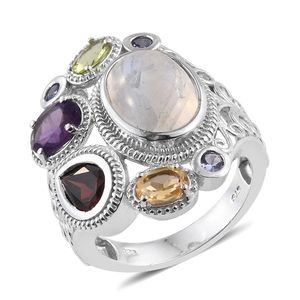 Sri Lankan Rainbow Moonstone, Multi Gemstone Platinum Over Sterling Silver Openwork Ring (Size 6.0) TGW 10.80 cts.