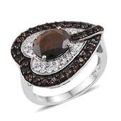 Chocolate Sapphire, Brazilian Smoky Quartz, White Topaz Platinum Over Sterling Silver Side Heart Ring (Size 8.0) TGW 4.900 cts.