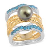 Set of 3 Tahitian Pearl, Malgache Neon Apatite 14K YG Over Sterling Silver Rings (Size 7) TGW 5.700 cts.