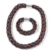 Multi Color Chroma Beads Silvertone Mesh Bracelet (8 In) and Necklace (20.00 In)