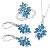Malgache Neon Apatite Platinum Over Sterling Silver Lever Back Earrings, Ring (Size 7) and Pendant With Chain (20 in) TGW 4.480 cts.