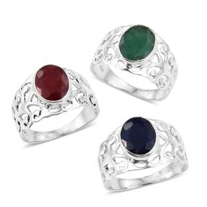 Set of 3 Artisan Crafted Blue Sapphire, Ruby and Emerald (Color Enhanced) Sterling Silver Openwork Rings (Size 6) TGW 9.240 cts.