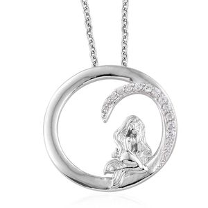 Kid's Collection - White Zircon Platinum Over Sterling Silver Mermaid Pendant With Stainless Steel Chain (20 in) TGW 0.28 cts.