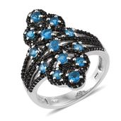 Malgache Neon Apatite, Thai Black Spinel Platinum Over Sterling Silver Ring (Size 7.0) TGW 2.12 cts.