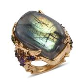 GP Malagasy Labradorite, Multi Gemstone 14K YG Over Sterling Silver Elongated Ring (Size 6.0) TGW 40.100 cts.