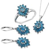 Malgache Neon Apatite Platinum Over Sterling Silver Lever Back Earrings, Ring (Size 9) and Pendant With Chain (20 in) TGW 4.710 cts.