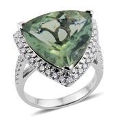 Customer Day 14K WG Natural Green Apatite, Diamond Trillion Cut Statement Ring (Size 7.0) TDiaWt 0.95 cts, TGW 19.28 cts.