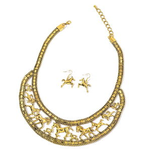 Goldtone Horse Earrings and Bib Necklace (20 in)