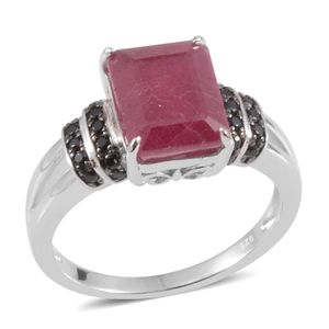 Niassa Ruby, Thai Black Spinel Sterling Silver Ring (Size 7.0) TGW 5.60 cts.