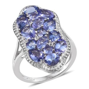 Tanzanite, White Zircon Platinum Over Sterling Silver Elongated Split Ring (Size 7.0) TGW 4.86 cts.
