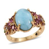 GP Larimar, Multi Gemstone 14K YG Over Sterling Silver Ring (Size 7.0) TGW 9.75 cts.