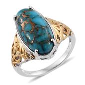 Mojave Blue Turquoise 14K YG and Platinum Over Sterling Silver Openwork Solitaire Ring (Size 9.0) TGW 9.650 cts.