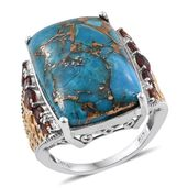 Mojave Blue Turquoise, Mozambique Garnet 14K YG and Platinum Over Sterling Silver Openwork Ring (Size 9.0) TGW 23.19 cts.