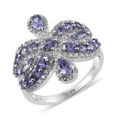 Tanzanite, White Zircon Platinum Over Sterling Silver Ring (Size 8.0) TGW 3.30 cts.