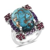 Mojave Blue Turquoise, Multi Gemstone Platinum Over Sterling Silver Ring (Size 7.0) TGW 13.560 cts.