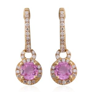 14K YG Madagascar Pink Sapphire, Diamond Charm Hoop Earrings TDiaWt 0.40 cts, TGW 1.70 cts.