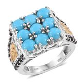 Arizona Sleeping Beauty Turquoise, Thai Black Spinel 14K YG and Platinum Over Sterling Silver Ring (Size 6.0) TGW 5.10 cts.
