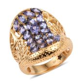 GP Tanzanite 14K YG Over Sterling Silver Elongated Ring (Size 6.0) TGW 3.66 cts.