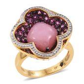 GP Peruvian Pink Opal, Orissa Rhodolite Garnet 14K YG Over Sterling Silver Floral Ring (Size 6.0) TGW 6.56 cts.