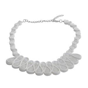 White Glass Silvertone Bib Necklace (20 in)