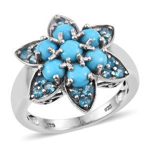 Arizona Sleeping Beauty Turquoise, Malgache Neon Apatite Platinum Over Sterling Silver Ring (Size 8.0) TGW 2.060 cts.