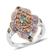Multi Sapphire 14K YG and Platinum Over Sterling Silver Ring (Size 8.0) TGW 3.11 cts.