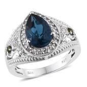 London Blue Topaz, Russian Diopside, White Zircon Platinum Over Sterling Silver Openwork Ring (Size 8.0) TGW 3.96 cts.