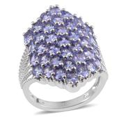 Tanzanite Platinum Over Sterling Silver Elongated Cluster Ring (Size 10.0) TGW 6.64 cts.